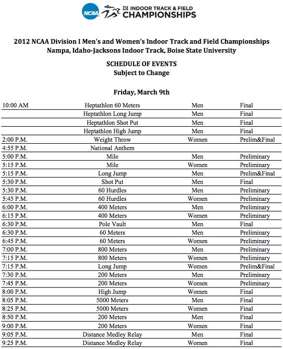 ncaa indoor track and field championships 2013 meet schedule